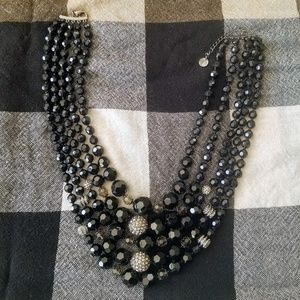 Talbots Multi-layer Black and Silver Bead Necklace